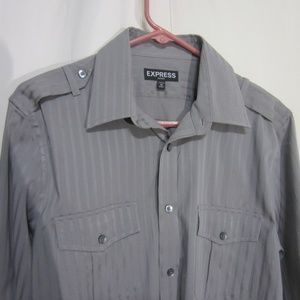 EXPRESS FITTED MED 15-15 1/2 SOFT GRAY SHIRT